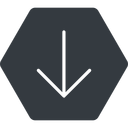 arrow-simple-thin thin, down, solid, hexagon, arrow, direction, arrow-simple-thin free icon 128x128 128x128px