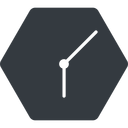 clock-thin thin, down, solid, hexagon, clock, time, meeting, hour, minute, hours, minutes, clock-thin free icon 128x128 128x128px