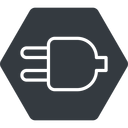 plug-thin thin, down, solid, hexagon, electricity, plug, charge, charger, electric, plug-thin, electrics, electrical free icon 128x128 128x128px