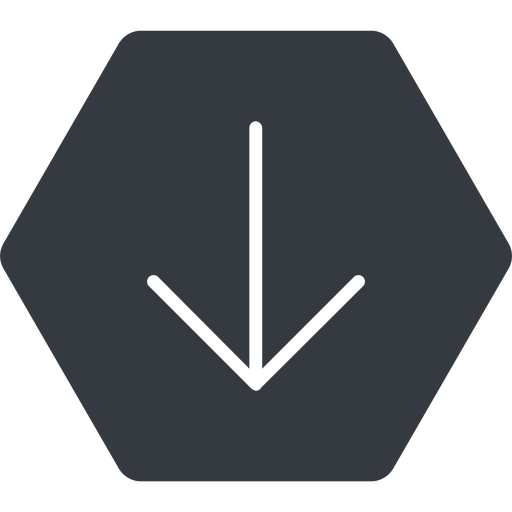 arrow-simple-thin thin, down, solid, hexagon, arrow, direction, arrow-simple-thin free icon 512x512 512x512px