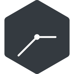 clock-thin thin, left, solid, hexagon, horizontal, mirror, clock, time, meeting, hour, minute, hours, minutes, clock-thin free icon 256x256 256x256px