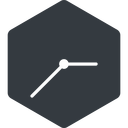 clock-thin thin, left, solid, hexagon, horizontal, mirror, clock, time, meeting, hour, minute, hours, minutes, clock-thin free icon 128x128 128x128px