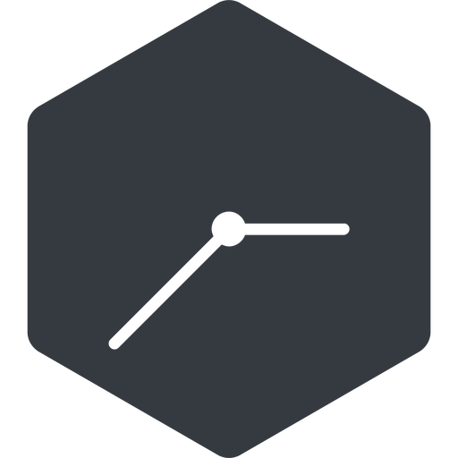 clock-thin thin, left, solid, hexagon, horizontal, mirror, clock, time, meeting, hour, minute, hours, minutes, clock-thin free icon 512x512 512x512px