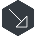 arrow-corner-thin thin, right, solid, hexagon, arrow, corner, arrow-corner-thin free icon 128x128 128x128px