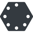 spinner-thin up, solid, hexagon, spinner, spin, wait, load, loading, spinner-thin free icon 128x128 128x128px