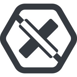 times-solid line, wide, hexagon, times, cross, error, not, remove, no, prohibited, delete, times-solid, danger, close, cancel free icon 256x256 256x256px