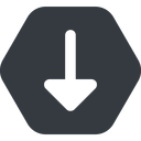 arrow-solid down, wide, solid, hexagon, arrow, arrow-solid free icon 128x128 128x128px
