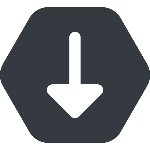 arrow-solid down, wide, solid, hexagon, arrow, arrow-solid free icon 512x512 512x512px
