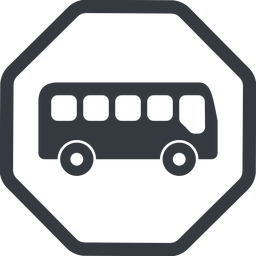 bus-side line, normal, wide, octagon, car, vehicle, transport, bus, side, bus-side free icon 256x256 256x256px