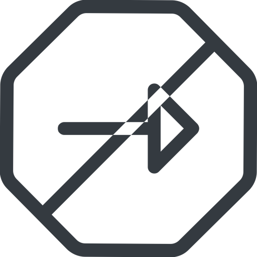 arrow line, right, normal, octagon, arrow, prohibited free icon 512x512 512x512px