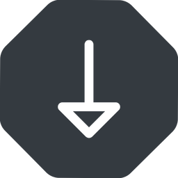 arrow down, normal, solid, octagon, arrow free icon 256x256 256x256px