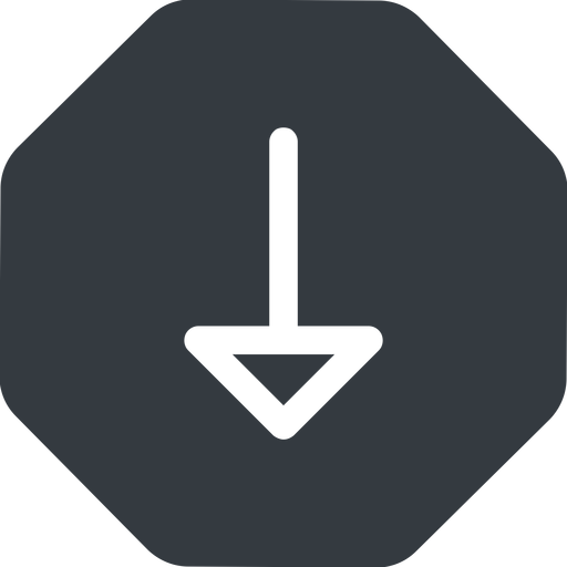 arrow down, normal, solid, octagon, arrow free icon 512x512 512x512px