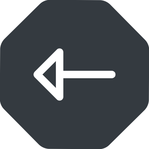 arrow left, normal, solid, octagon, arrow free icon 512x512 512x512px