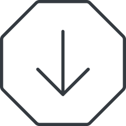 arrow-simple-thin thin, line, down, octagon, arrow, direction, arrow-simple-thin free icon 256x256 256x256px