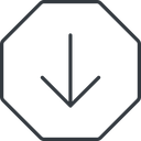 arrow-simple-thin thin, line, down, octagon, arrow, direction, arrow-simple-thin free icon 128x128 128x128px