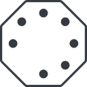 spinner-thin line, down, octagon, spinner, spin, wait, load, loading, spinner-thin free icon 128x128 128x128px