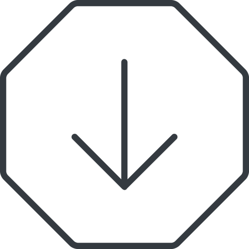 arrow-simple-thin thin, line, down, octagon, arrow, direction, arrow-simple-thin free icon 512x512 512x512px