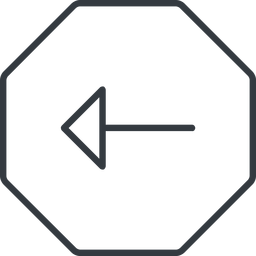 arrow-thin thin, line, left, octagon, arrow, arrow-thin free icon 256x256 256x256px