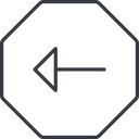 arrow-thin thin, line, left, octagon, arrow, arrow-thin free icon 128x128 128x128px