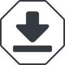 download-solid thin, line, up, octagon, download, downloaded, downloading, download-solid free icon 128x128 128x128px