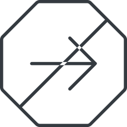 arrow-simple-thin thin, line, right, octagon, arrow, direction, prohibited, arrow-simple-thin free icon 256x256 256x256px