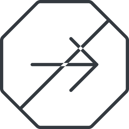 arrow-simple-thin thin, line, right, octagon, arrow, direction, prohibited, arrow-simple-thin free icon 512x512 512x512px