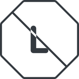 large thin, line, octagon, size, large, l, prohibited free icon 256x256 256x256px