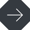 arrow-simple-thin thin, right, solid, octagon, arrow, direction, arrow-simple-thin free icon 128x128 128x128px