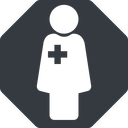 female-nurse-solid thin, solid, octagon, horizontal, mirror, nurse, medical, healthcare, health, female, medic, female-nurse, doctor, hospital, female-nurse-solid free icon 128x128 128x128px