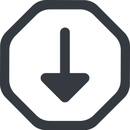 arrow-solid line, down, wide, octagon, arrow, arrow-solid free icon 256x256 256x256px