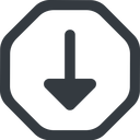 arrow-solid line, down, wide, octagon, arrow, arrow-solid free icon 128x128 128x128px