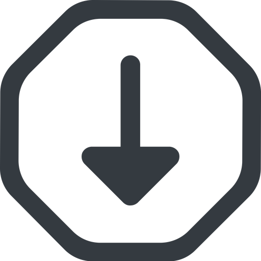 arrow-solid line, down, wide, octagon, arrow, arrow-solid free icon 512x512 512x512px