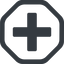 plus-solid line, octagon, plus, add, new, medical, plus-solid, create, addition, +, more, medic free icon 64x64 64x64px