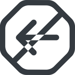 arrow-simple-wide line, left, octagon, arrow, direction, prohibited, arrow-simple-wide free icon 256x256 256x256px