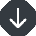 arrow-simple-wide down, solid, octagon, arrow, direction, arrow-simple-wide free icon 128x128 128x128px