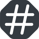 hashtag-wide wide, solid, octagon, social, hashtag, hashtag-wide free icon 128x128 128x128px
