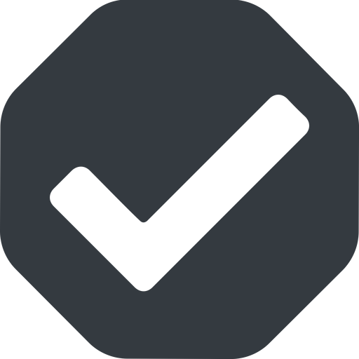 check wide, solid, octagon, check, ok, valid, checked, done, confirm, confirmed, success, yes free icon 512x512 512x512px