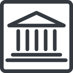 bank line, normal, square, law, bank, banking, university, investment, finance, court free icon 256x256 256x256px