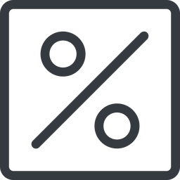 percent line, normal, square, percent, pct, percentage, ratio, discount free icon 256x256 256x256px