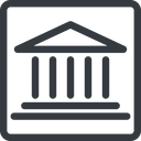 bank line, normal, square, law, bank, banking, university, investment, finance, court free icon 128x128 128x128px