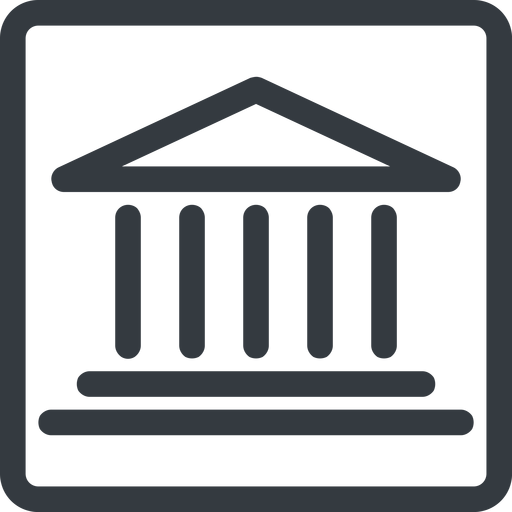 bank line, normal, square, law, bank, banking, university, investment, finance, court free icon 512x512 512x512px