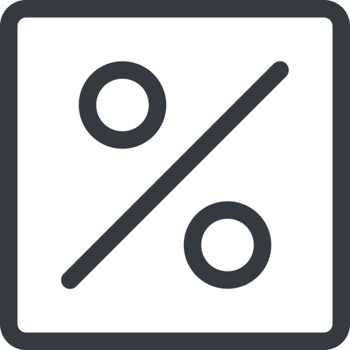 percent line, normal, square, percent, pct, percentage, ratio, discount free icon 512x512 512x512px