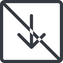 arrow-simple line, down, square, arrow, direction, prohibited, arrow-simple free icon 256x256 256x256px