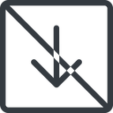 arrow-simple line, down, square, arrow, direction, prohibited, arrow-simple free icon 128x128 128x128px