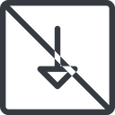 arrow line, down, normal, square, arrow, prohibited free icon 128x128 128x128px