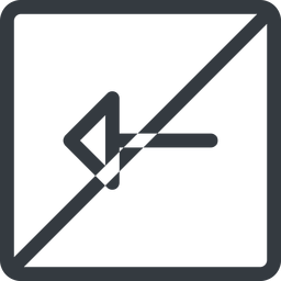 arrow line, left, normal, square, arrow, prohibited free icon 256x256 256x256px