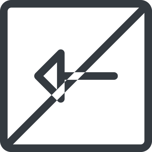 arrow line, left, normal, square, arrow, prohibited free icon 512x512 512x512px