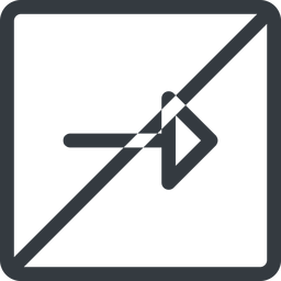 arrow line, right, normal, square, arrow, prohibited free icon 256x256 256x256px