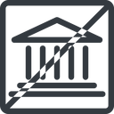 bank line, normal, square, horizontal, mirror, prohibited, law, bank, banking, university, investment, finance, court free icon 128x128 128x128px