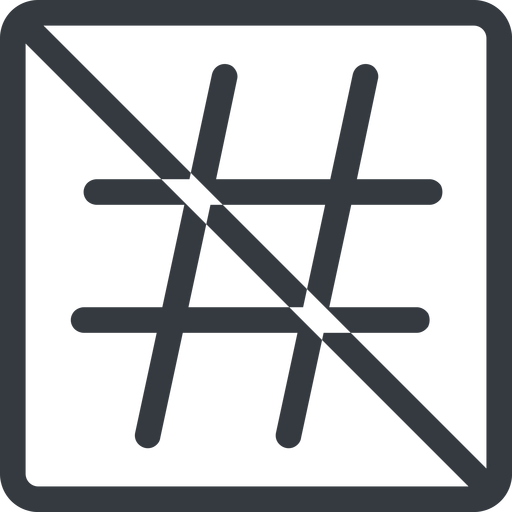 hashtag line, normal, square, social, prohibited, hashtag free icon 512x512 512x512px